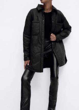Трендова легка та тепла куртка-сорочка zara🤎