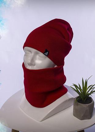 Зимний комплект шапка+бафф adidas red