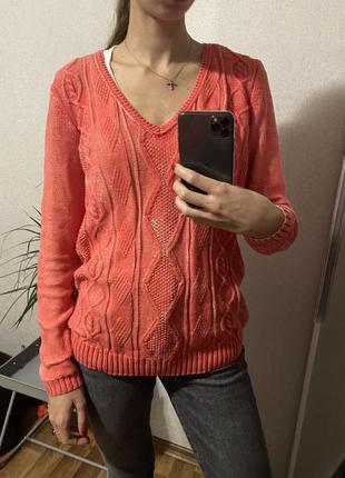 Морковный коралловый свитер джемпер