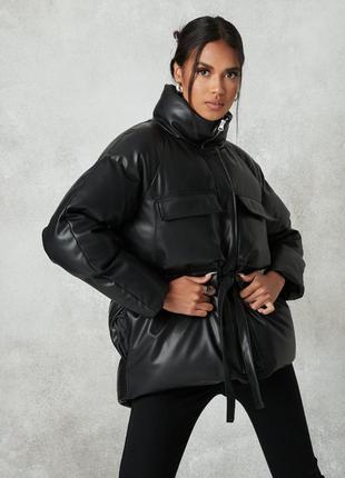 Зимняя куртка из экокожи missguided,uk10