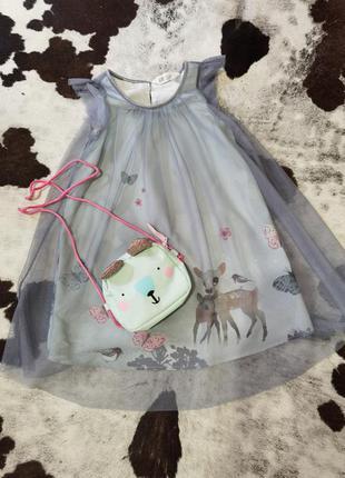 Нарядное актуальное  платье фатин+сумочка ,🦌✨❄️⛄  h&m 110-116 5-6лет