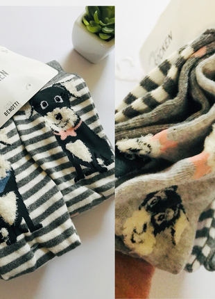 🐶набор - 3 пары женских носочков с собачками и сердечками германия