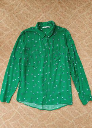 Женская яркая зеленая рубашка tu