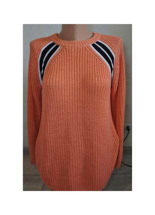 Актуальный свитер, крупная вязка, джемпер, с лампасами, туника, стильный, модный, трендовый