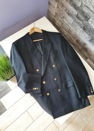 Винтажный шерстяной блейзер  жакет пиджак с мужского плеча