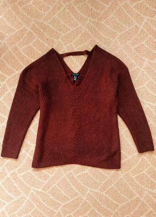 Бордовый вязаный свитер с красивой спинкой atmosphere