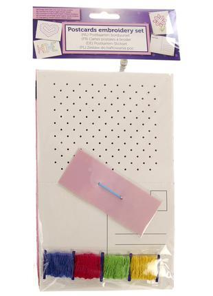 Детский набор для вышивания открыток edeka (нитки, игла, 10 открыток), вышивка