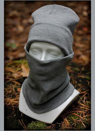 Зимний комплект шапка+бафф (без лого) grey