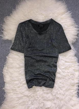 Сверкающая люрексовая праздничная футболка в обтяжку базовая