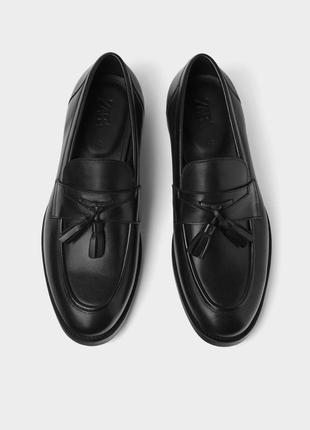 Лоферы, туфли с кисточками кожа zara