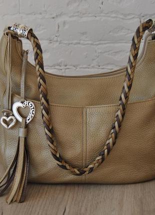 Кожаная сумка хобо brighton / шкіряна сумка