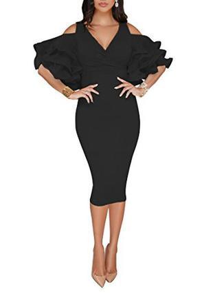 Базовое платье футляр с объемным рукавчиком