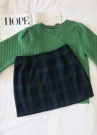 Темно- синяя / зелёная мини юбка в клетку boohoo