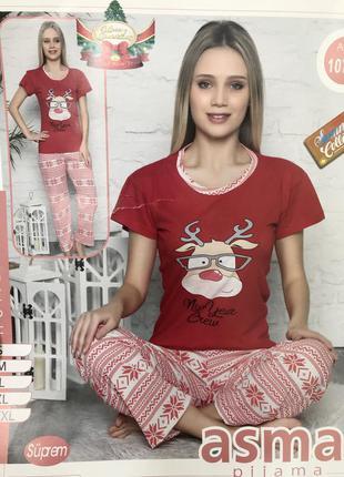Красная новая новогодняя пижама с оленем