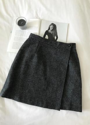 Серая шерстяная юбка на запах monsoon