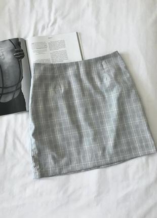 Мини юбка в клетку серая h&m