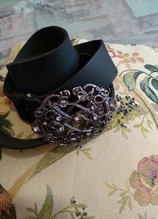 Made in italy женский кожаный ремень с большой   пряжкой и камнями