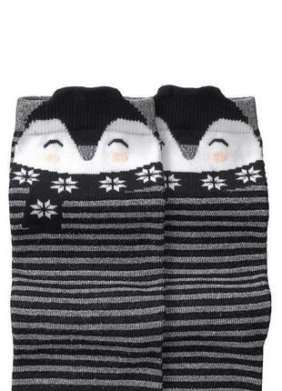 🐧полосатые носочки с пингвинами и люрексом германия