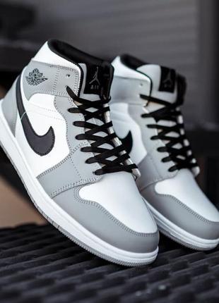 Зимние мужские кроссовки nike air jordan 1 retro grey white (мех) 41-42-43-44-46