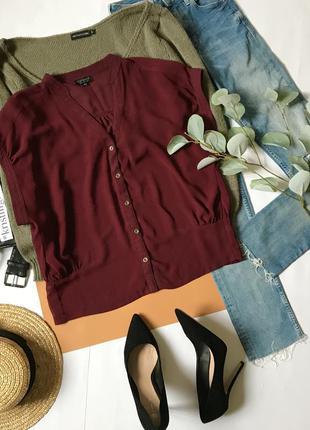 Бордовая блуза под шифон