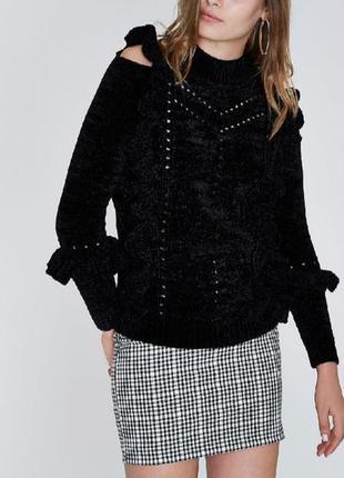 Чёрный велюровый свитер с оборками рюшами river island