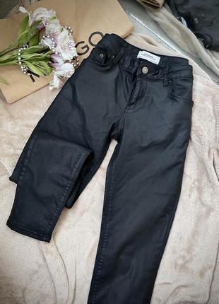 Штани джинси zara шкіряні кожані джинси еко кожа шкіра