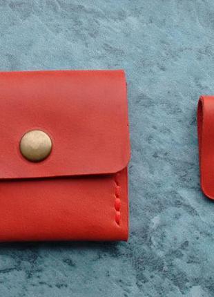 Кожаная монетница + органайзер ручной работы. красный набор