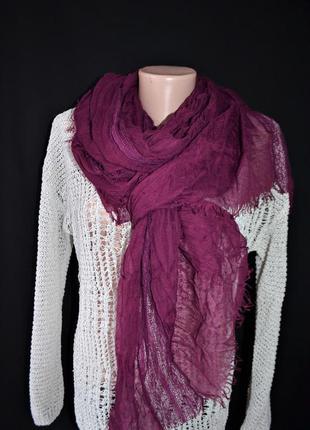 Хлопковый шарф с ажурными вставками