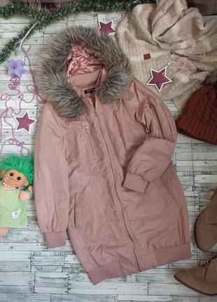 Длинная куртка пудровая бомбер демисезонная парка с мехом розовая new look cameo rose