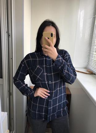Вискоза рубашка блузка блуза в клетку с рукавом