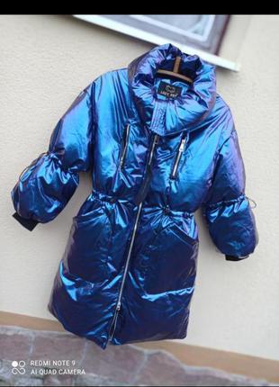 Куртка парка плащ виниловая хамелеон
