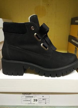 Ботинки черные нубук