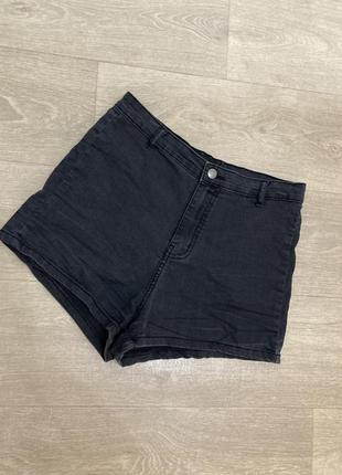 🍀высокие чёрные джинсовые шорты
