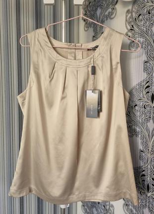 Красивая нарядная свободная брендовая атласная блуза майка айвори ivory et vous 12 l