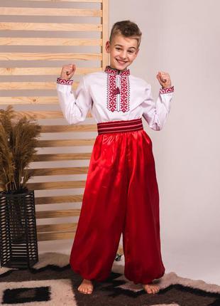 Костюм украинский для мальчика рубашка-вышиванка, шаровары и пояс-крайка