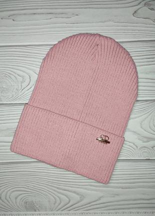 Шапка розовая резинка лопата