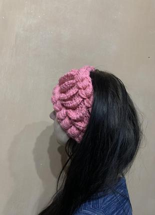 Повязка на голову новая очень тёплая розовая крючок