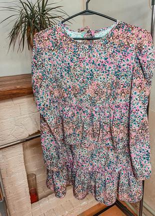 Платье с рюшами , женское платье , платье с цветами
