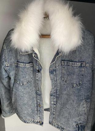 Джинсовая куртка джинсовка теплая