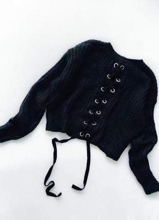 Укороченная кофта свитер свитшот с шнуровкой по спине