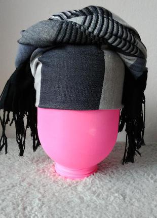 Женский тюрбан / повязка на голову  серого цвета в клеточку pashmina