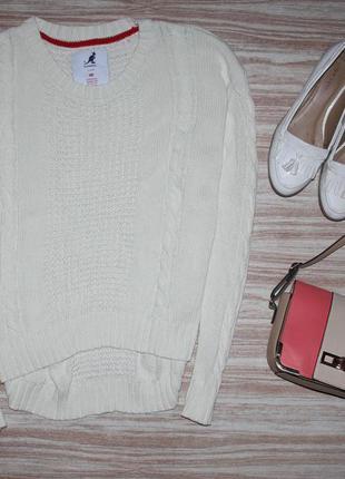 Актуальный белый свитер с косами №55