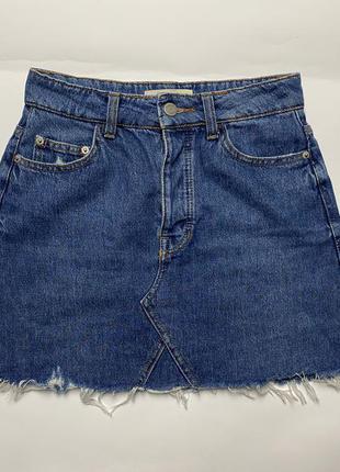 Bershka короткая джинсовая юбка трапеция zara