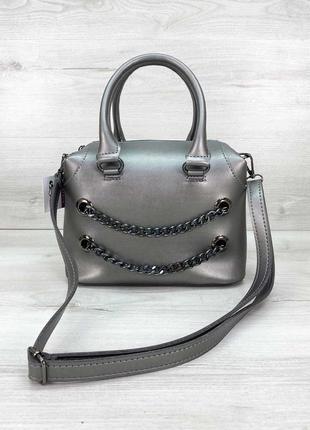 Женская сумка серебряная сумка среднего размера сумка с длинным ремешком сумка через плечо