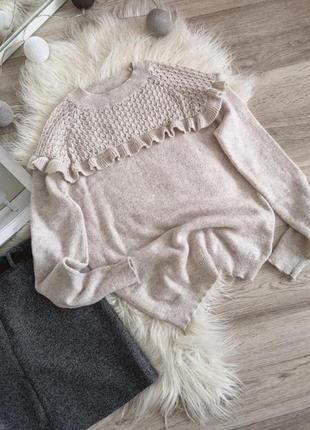 Свитер с рюшами от next в составе альпака 20%/теплый свитер/нарядный свитерок