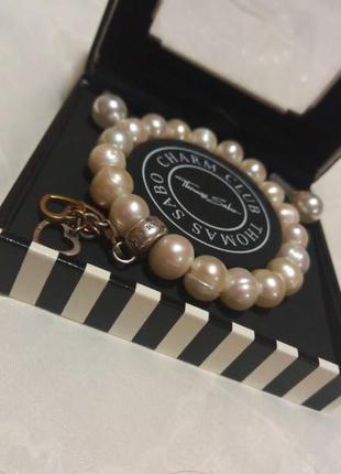 Жемчужный набор - серебрянный браслет и серьги