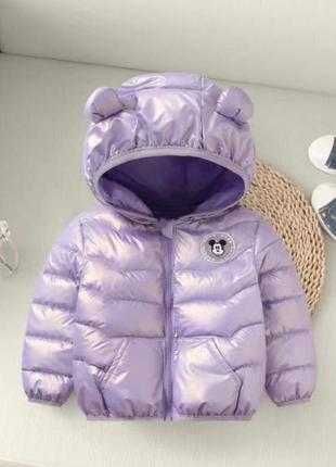 Перламутровая курточка, куртка деми с микки