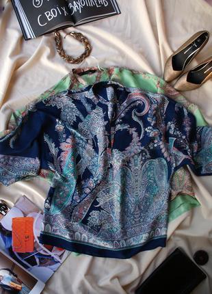 Стильна шовковиста блуза платок вільного крою оверсайз від zara нова колекція