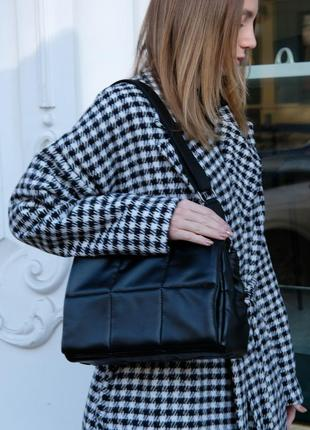 Сумка черная сумка на плечо сумка среднего размера стеганая сумка стеганная сумка через плечо
