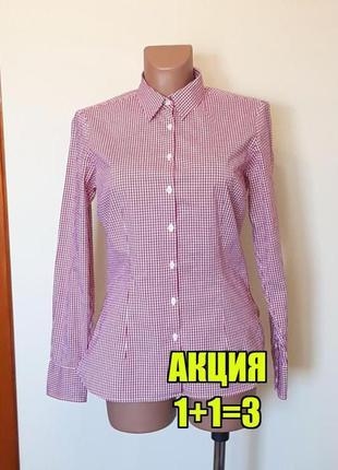 💥1+1=3 фирменная малиновая приталенная блуза в клетку tommy hilfiger, размер 46 - 48